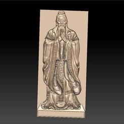 Confucius_bas-relief1.jpg Télécharger fichier STL gratuit Confucius • Objet à imprimer en 3D, stlfilesfree