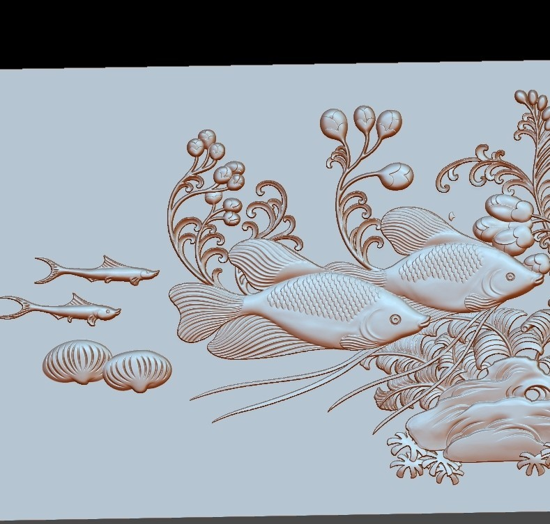 fishunderwater4.jpg Download free STL file fish underwater 3d model of bas-relief • Template to 3D print, stlfilesfree
