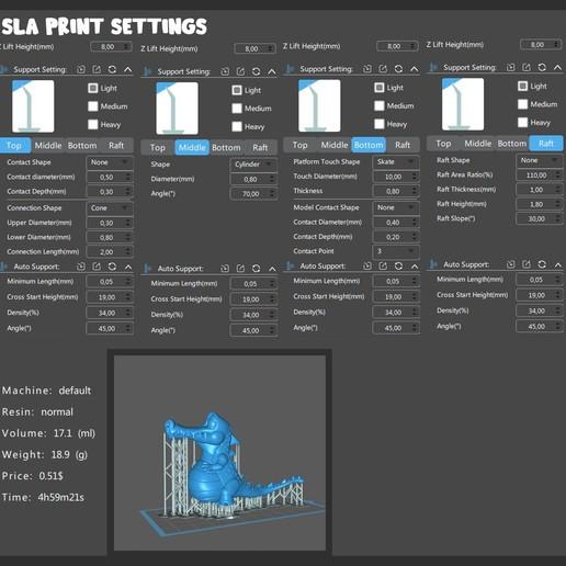 Croco_SLA_Print_Settings.jpg Télécharger fichier OBJ gratuit Crocodile heureux • Plan imprimable en 3D, BlackSpire
