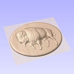 bison.jpg Download STL file bison plaque • Object to 3D print, marctull297