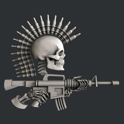 Imprimir en 3D Modelos 3d Pistola de cráneo, burcel