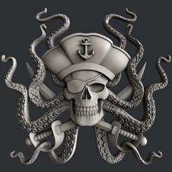 Diseños 3D pulpo pirata, burcel