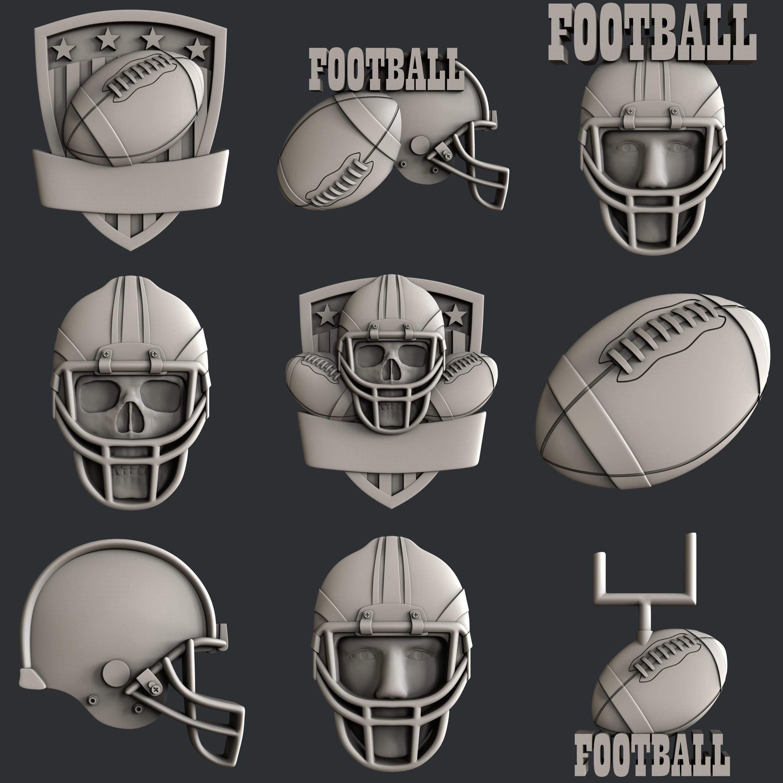 P105all.jpg Download STL file Set American Football • 3D printable model, 3dmodelsByVadim