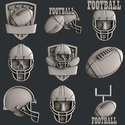 3D printer models Set American Football, burcel