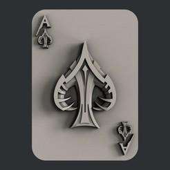 STL file 3d models ace of spades, burcel