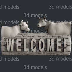 P341a.jpg Download STL file welcome cow • Design to 3D print, 3dmodelsByVadim