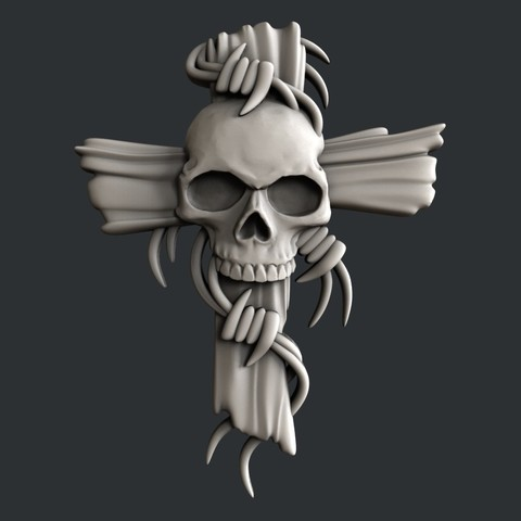 3D printer files 3d models cross with skull, burcel