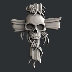 Download 3D printing files 3d models cross with skull, burcel