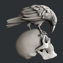 3D printer models Skull raven, burcel