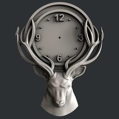 Fichier STL cerf horloge, burcel