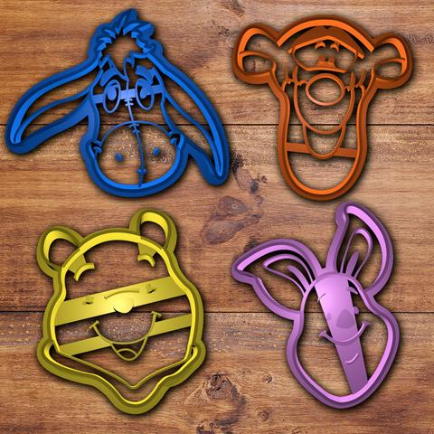 3D print model Winnie Pooh cookie cutter set, davidruizo