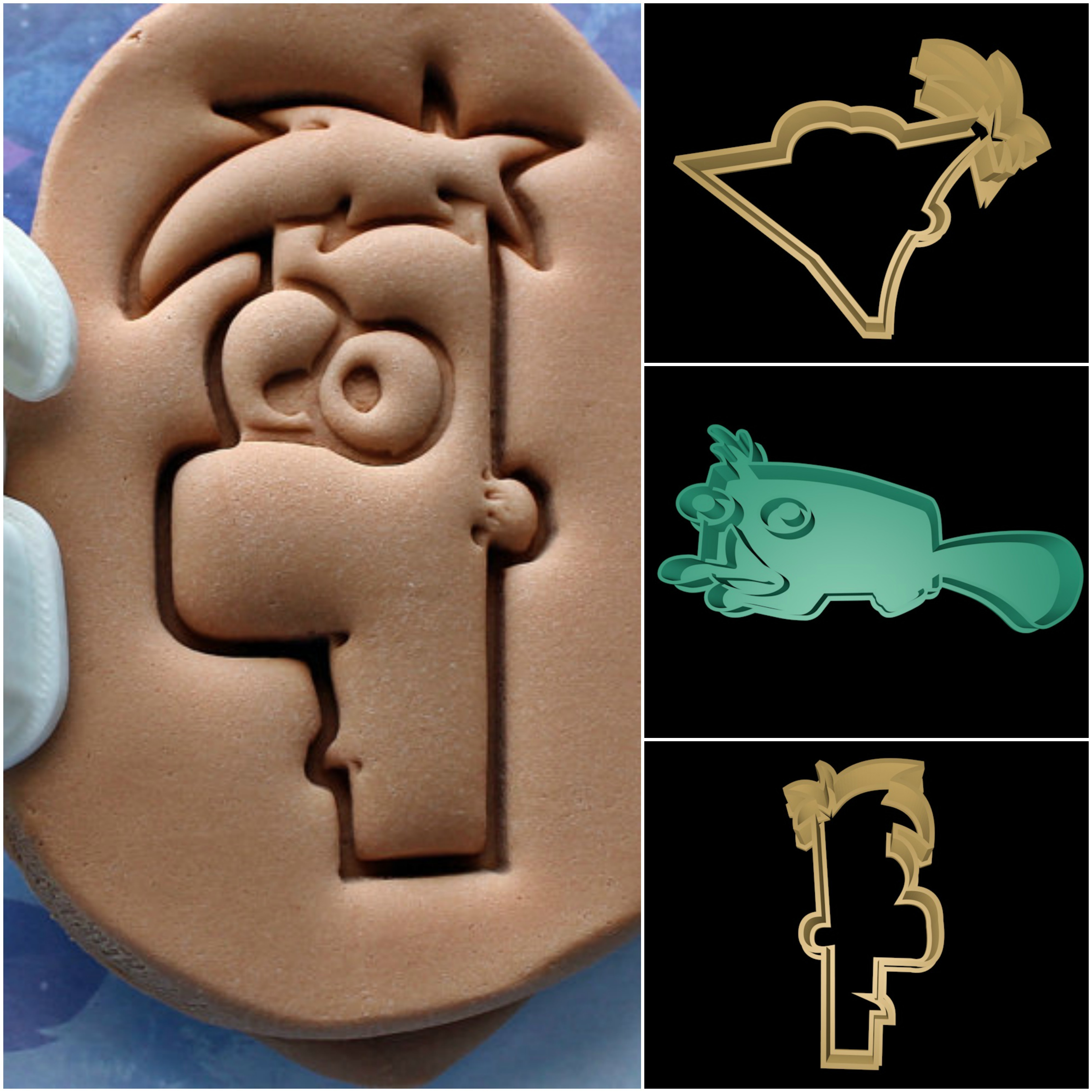 phineas and ferb.jpg Download STL file Phineas and Ferb cookie cutter set • 3D printer template, davidruizo