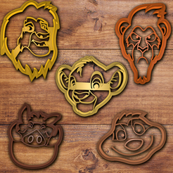 Download 3D printer designs The Lion king cookie cutter set, davidruizo