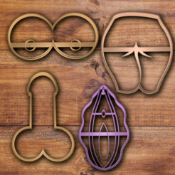 Download 3D printer files Body Private parts cookie cutter set , davidruizo