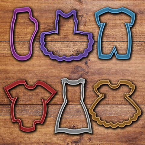 todo.png Download STL file Baby clothes cookie cutter set • 3D printable template, davidruizo