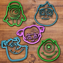 STL Monsters Inc cookie cutter set, davidruizo
