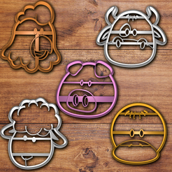 Download 3D printer files Farm animals cookie cutter set, davidruizo