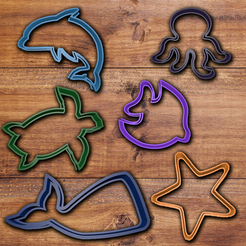 Download 3D printer templates Sea animals cookie cutter set., davidruizo