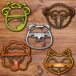 Download STL files Jungle animals cookie cutter set, davidruizo
