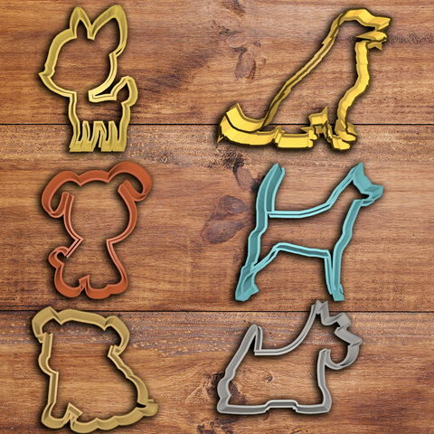 perros-todos.png Download STL file Dog cookie cutter set • 3D printing design, davidruizo
