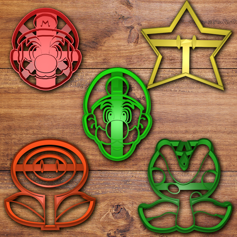 Download 3D printing models Mario and Luigi Cookie cutter set, davidruizo