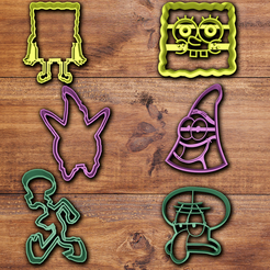 stl files Spongebob Squarepants cookie cutter set, davidruizo