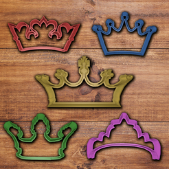 3d print files Crown cookie cutter set, davidruizo