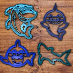 Modelos 3D para imprimir Juego de cortador de galletas para tiburones, davidruizo