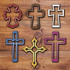 Imprimir en 3D Juego de cortapastas de cruces católicas, davidruizo