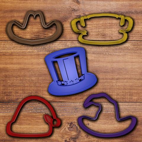 todos.png Download STL file Hats cookie cutter set • 3D print design, davidruizo