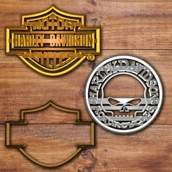Download 3D printing files Harley Davidson Cookie cutter set, davidruizo