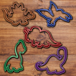 3d printer model Dinosaur cookie cutter set, davidruizo