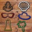 Download 3D print files Beach objects cookie cutter set., davidruizo