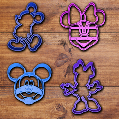 mickey-minney.png Download STL file Minnie and Mickey cookie cutter set. • 3D print model, davidruizo