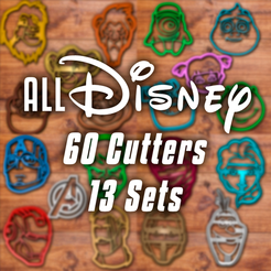 Todo-disney.png Download STL file All disney Cookie cutters set +60 • 3D print template, davidruizo
