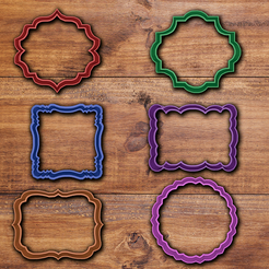 Download 3D printing templates Vintage Frame cookie cutter set 2, davidruizo