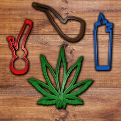 STL file Weed (Marihuana) cookie cutter set, davidruizo