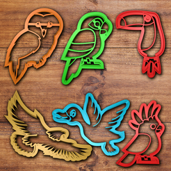 3D printing model Flying animals Cookie cutter set, davidruizo