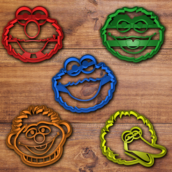 Download 3D print files Sesame street cookie cutter set , davidruizo