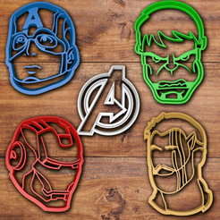 Download 3D printing templates Avengers Cookie Cutter set, davidruizo