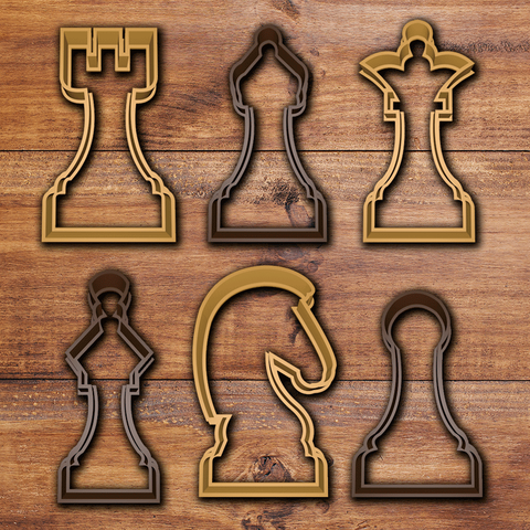 todo.png Download STL file Chess Cookie cutter set • 3D print object, davidruizo