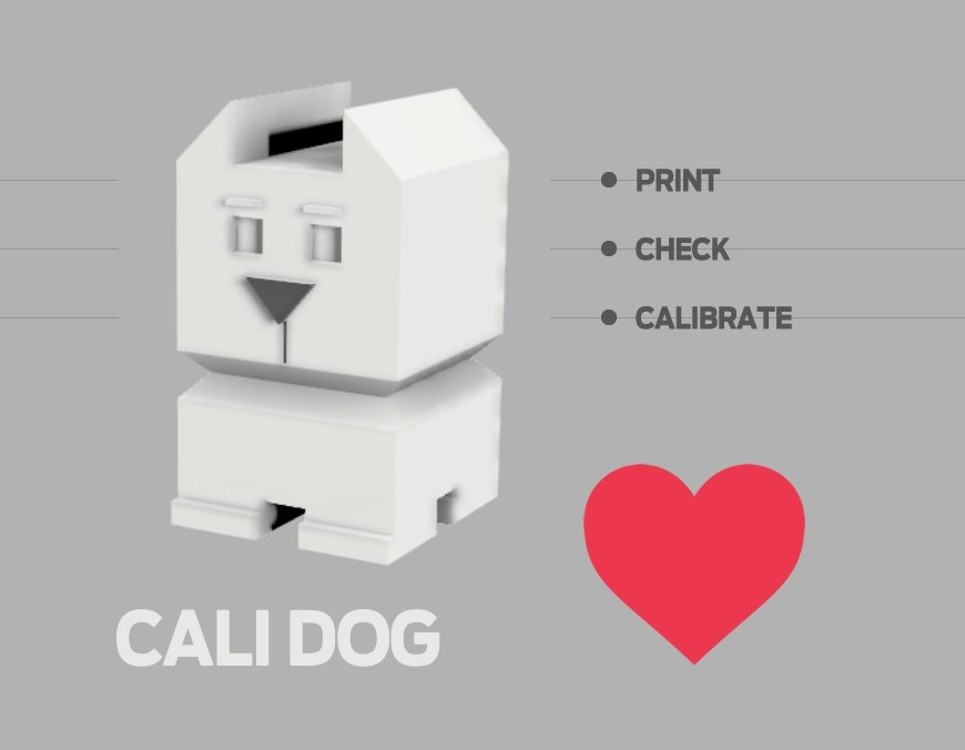 cali-dog1.jpg Download free STL file Cali Dog - The Calibration Dog • 3D printable model, xkiki
