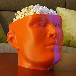 headBowl3.jpg Download free STL file Binge Watcher's Popcorn Bowl • Template to 3D print, ecoiras