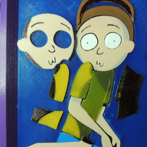 DSCN2442.JPG Download free STL file The Creepy Morty Painting - Rick and Morty • 3D printable object, JayOmega