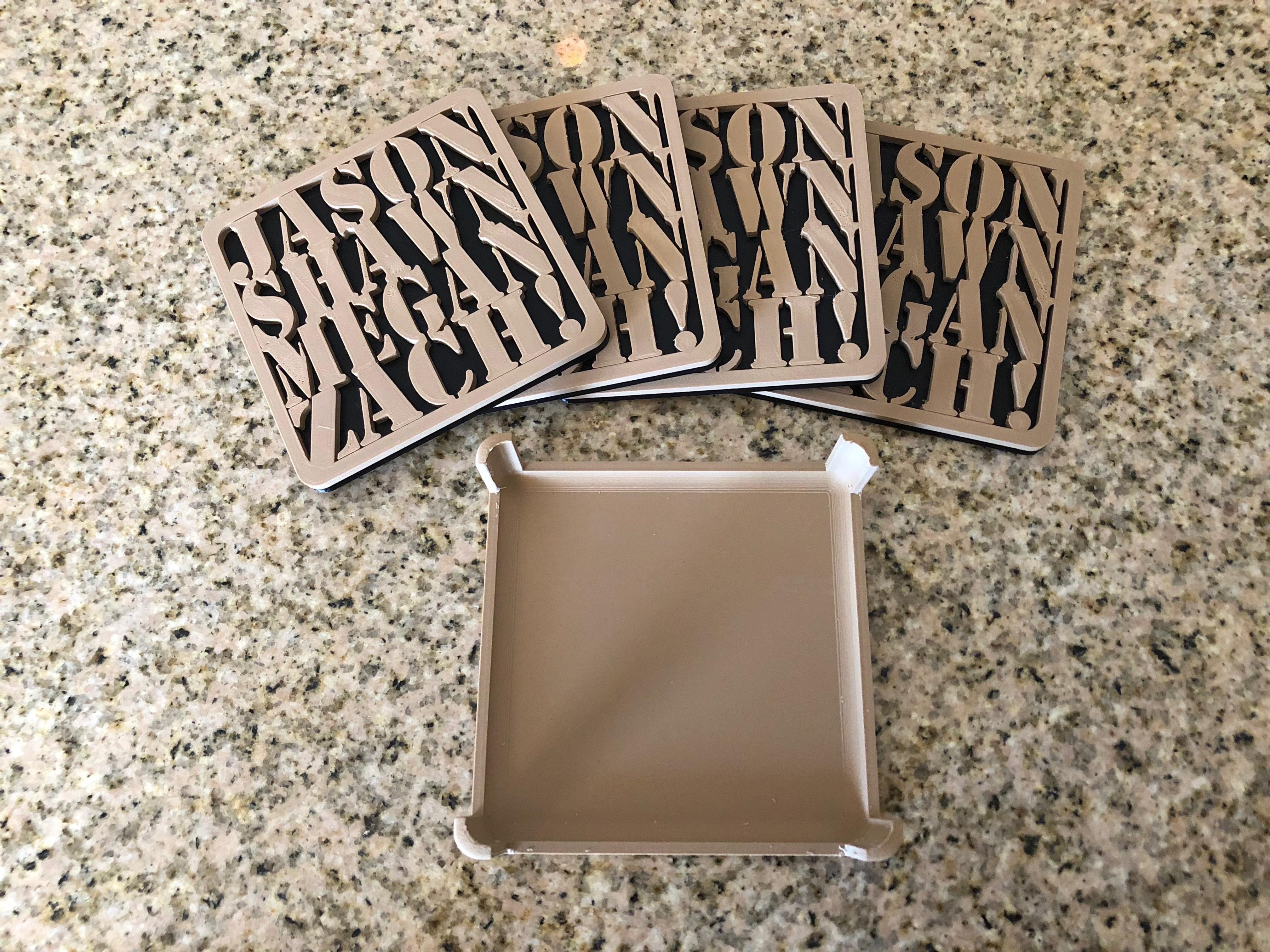 IMG_1906.jpg Download free STL file Customizable Coasters with Holder • 3D printable design, MeesterEduard