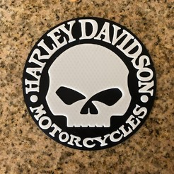 Imprimir en 3D gratis Logo Harley Davidson Willie G Calavera, MeesterEduard