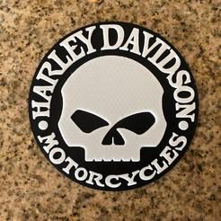 modelo stl gratis Logo Harley Davidson Willie G Calavera, MeesterEduard