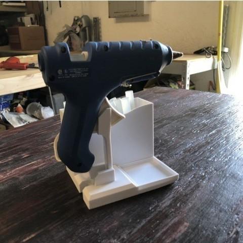 fichier imprimante 3d gratuit support cadenas pour pistolet colle w la poste. Black Bedroom Furniture Sets. Home Design Ideas