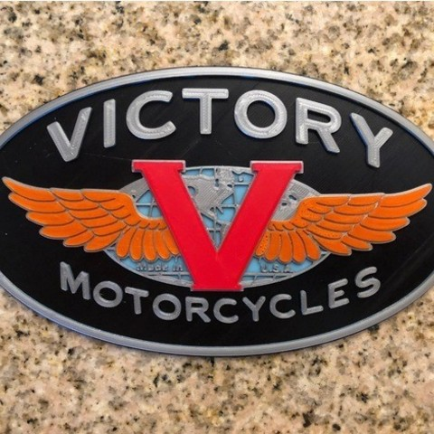Free Victory Motorcycles Logo Sign 3D printer file, MeesterEduard