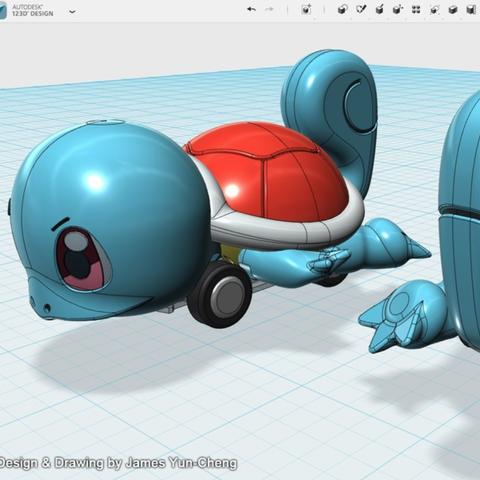 Capture d'écran 2018-01-17 à 12.56.46.png Télécharger fichier STL gratuit My 123D Design Portfolio - Jouet de voiture à traction arrière Squirtle • Modèle à imprimer en 3D, cycstudio